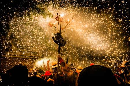explotion: VILAFRANCA DEL PENEDES, SPAIN - SEP 01: Correfoc performance within the Festa Major celebrations Sep 01, 2012 in Vilafranca del Penedes, Spain. Editorial