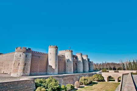 defensive: Aljaferia Palace defensive walls at Zaragoza, Spain Stock Photo