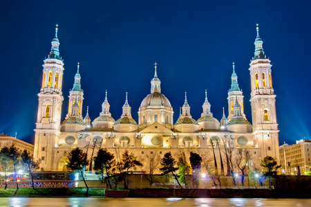 Our Lady of the Pillar Basilica as seen from the north shore of Ebro River at Zaragoza, Spain