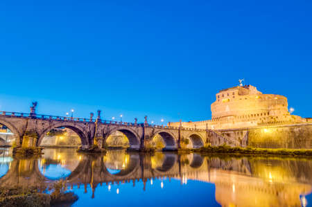 The Mausoleum of Hadrian, usually known as the Castle of the Holy Angel (Castel Sant Angelo), a towering cylindrical building in Parco Adriano, Rome, Italy Stock Photo