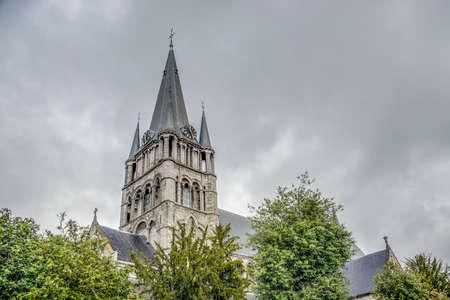 Romanesque church of Saint-Jacques in Tournai, Belgium. Stock Photo