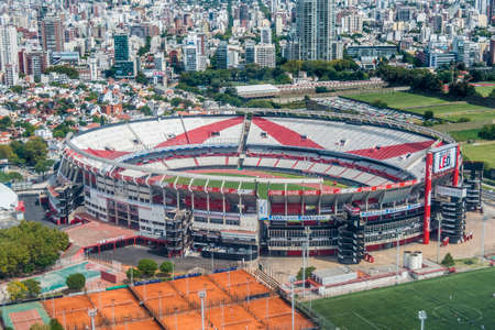 River Plate Football Club stadium bird eye view in Buenos Aires, Argentina. Editorial