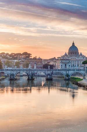 mundi: Ponte SantAngelo, once the Aelian Bridge or Pons Aelius (Bridge of Hadrian) in Rome, Italy,