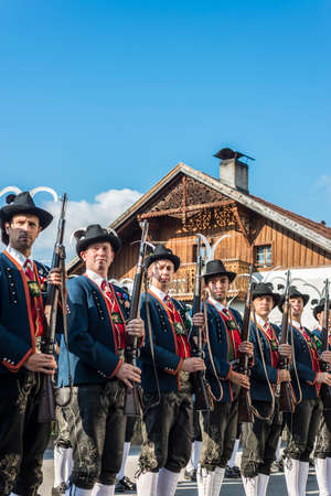 finest: OBERPERFUSS, AUSTRIA - AUG 15: Villagers dressed in their finest traditional costumes during Maria Ascension procession along this village near Innsbruck on Aug 15, 2013 in Oberperfuss, Austria. Editorial