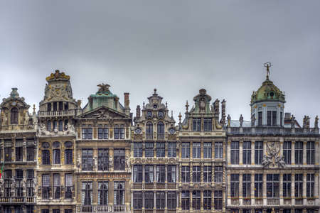 guildhalls: Guildhalls on Grand Place (Grote Markt), the central square of Brussels, its most important tourist destination and the most memorable landmark in Brussels, Belgium.