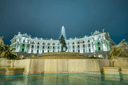 caput: Piazza della Repubblica (Republic Square), a semi-circular piazza in Rome, at the summit of the Viminal Hill, Italy
