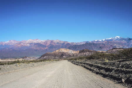 Provincial Road 52 passing by the Department of Las Heras in Mendoza, Argentina photo