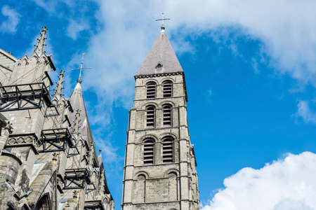 The mixed Romanesque- and Gothic-style Cathedral of Our Lady of Tournai(Notre-Dame de Tournai) in Belgium. Stock Photo - 27202822