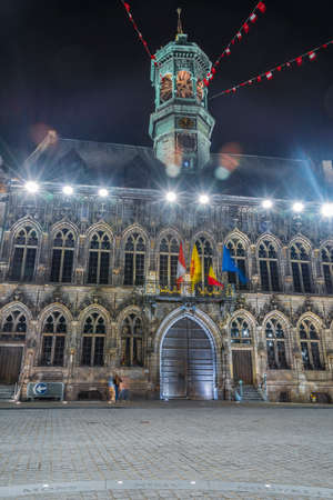 walloon: The central square and town hall in Mons, capital of the Wallonian province of Hainaut in Belgium.