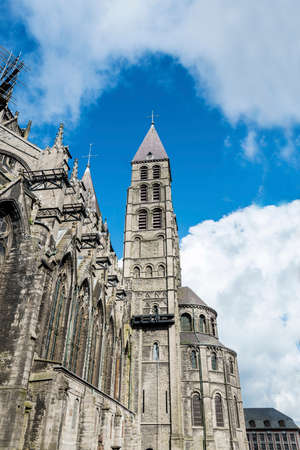 The mixed Romanesque- and Gothic-style Cathedral of Our Lady of Tournai(Notre-Dame de Tournai) in Belgium. Stock Photo - 27256276