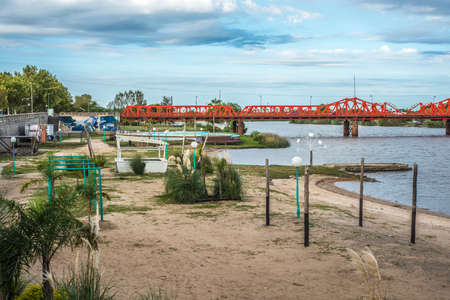 entre: Mendez Casariego Bridge over Gualeguaychu River opened in 1931 in Gualeguaychu, Entre Rios, Argentina. Stock Photo