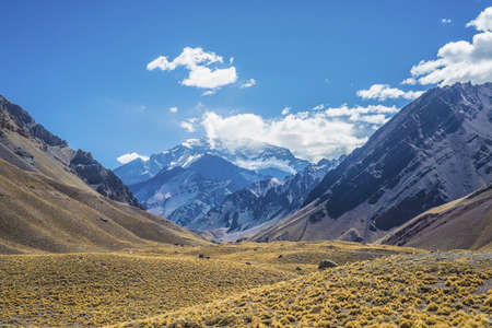 Aconcagua, the highest mountain in the Americas at 6.960m, located in the Andes mountain range in Mendoza, Argentina.