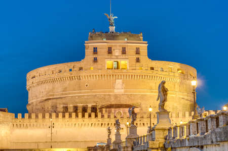 mundi: The Mausoleum of Hadrian, usually known as the Castle of the Holy Angel (Castel Sant Angelo), a towering cylindrical building in Parco Adriano, Rome, Italy Editorial