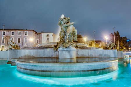 Piazza della Repubblica (Republic Square), a semi-circular piazza in Rome, at the summit of the Viminal Hill, Italy
