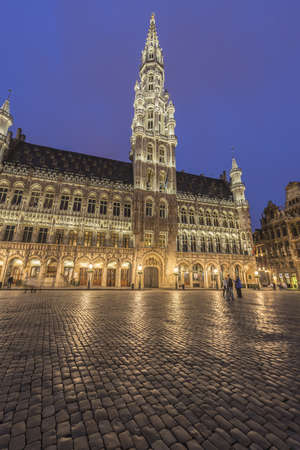 historical sites: Town Hall (Hotel de Ville) on Grand Place (Grote Markt), the central square of Brussels, its most important tourist destination and the most memorable landmark in Brussels, Belgium. Stock Photo