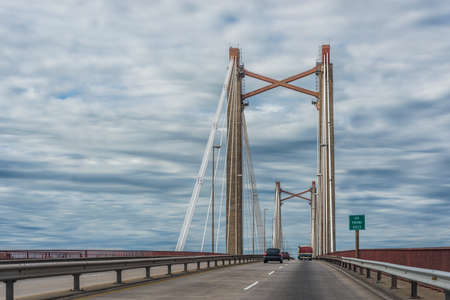 entre: The Zarate Brazo Largo Bridges are two cable-stayed road and railway bridges in Argentina, crossing the Parana River between the cities of Zarate, Buenos Aires, and Brazo Largo, Entre Rios. Stock Photo