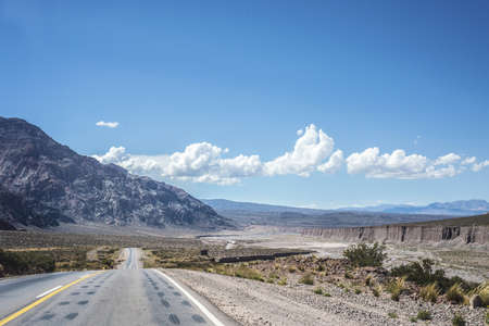 mendoza: National Road 7 passing by the Department of Lujan de Cuyo in Mendoza, Argentina Stock Photo
