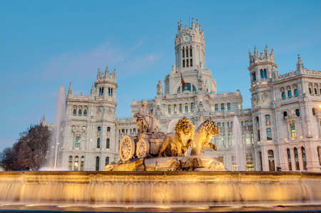 Cibeles Fountain located downtown Madrid, Spain Фото со стока