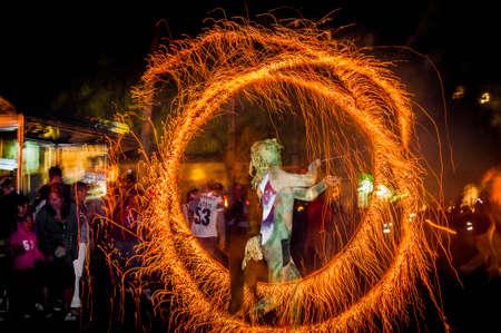 cercavila: VILAFRANCA DEL PENEDES, SPAIN - SEP 01: Correfoc performance within the Festa Major celebrations Sep 01, 2012 in Vilafranca del Penedes, Spain. Editorial