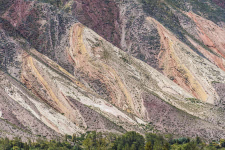 geological formation: The Painters Palette (Paleta del Pintor), a geological formation of multicolored hills that resemble a paint palette on the valley of Quebrada de Humahuaca in Jujuy Province, Argentina. Stock Photo