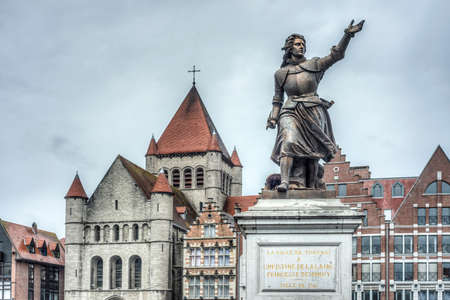 defended: Monument on Grand Place honoring Marie-Christine de Lalaing, who defended Tournai against the Duke of Parma, Alessandro Farnese in 1581 in Tournai, Belgium.