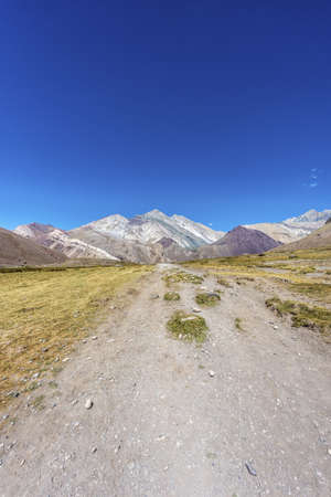 horcones: Aconcagua, the highest mountain in the Americas at 6.960m, located in the Andes mountain range in Mendoza, Argentina.