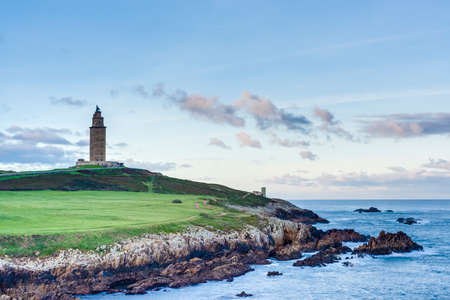 Tower of Hercules, the almost 1900 years old and rehabilitated in 1791 55 metres tall structure is the oldest Roman lighthouse in use today and overlooks the Atlantic coast of Spain from A Coruna. photo