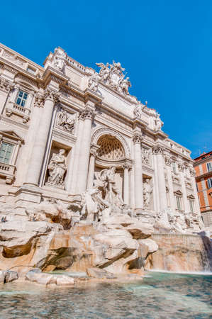 Trevi Fountain, the largest Baroque fountain in the city and one of the most famous fountains in the world located in Rome, Italy.