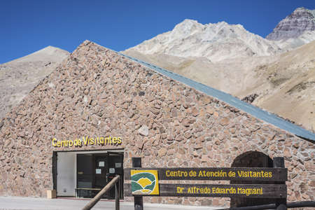 horcones: Aconcagua Visitors Center, the highest mountain in the Americas at 6.960 m, located in the Andes mountain range in Mendoza, Argentina. Stock Photo