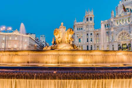 Cibeles Fountain located downtown Madrid, Spain Stock Photo