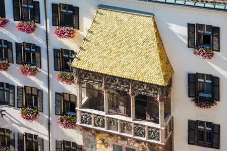 The Goldenes Dachl (Golden Roof), completed in 1500 with 2,738 fire-gilded copper tiles for Emperor Maximilian I to mark his wedding to Bianca Maria Sforza in Innsbruck, Austria. Stock Photo