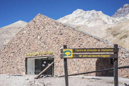 horcones: Centro di Aconcagua Visitor, la montagna pi� alta delle Americhe a 6.960 m, si trova nella Cordigliera delle Ande a Mendoza, Argentina. Editoriali