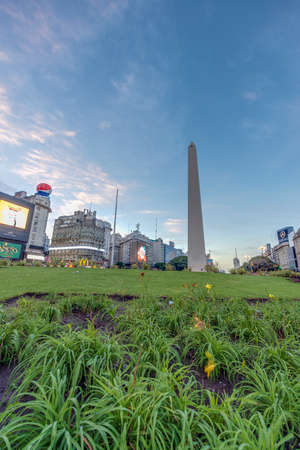 corrientes: BUENOS AIRES, ARGENTINA - APR 12: The Obelisk (El Obelisco), the most recognized landmark in the capital on Apr 12, 2013 in Buenos Aires, Argentina.