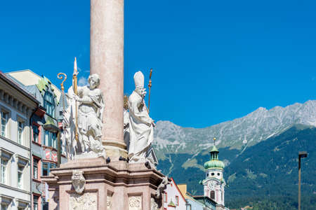 invading: St Anne Column in Maria-Theresien Street, a statue of the Virgin Mary atop a Corinthian red marble column erected in 1706 to celebrate the withdrawal of invading Bavarian armies in Innsbruck, Austria.