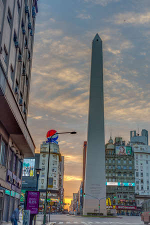obelisco: BUENOS AIRES, ARGENTINA - APR 12: The Obelisk (El Obelisco), the most recognized landmark in the capital on Apr 12, 2013 in Buenos Aires, Argentina.