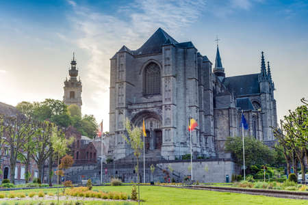walloon: Saint Waltrude (Sainte Waudru) collegiate church in Mons, capital of the Wallonian province of Hainaut in Belgium.
