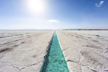 Salt water pool on the Salinas Grandes salt flats in Jujuy province, northern Argentina. photo