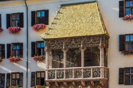 completed: The Goldenes Dachl (Golden Roof), completed in 1500 with 2,738 fire-gilded copper tiles for Emperor Maximilian I to mark his wedding to Bianca Maria Sforza in Innsbruck, Austria. Editorial