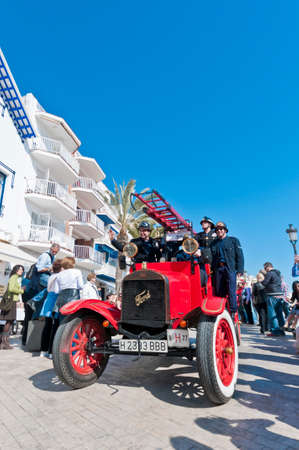 motorcar: SITGES, SPAIN - MARCH 11: A 1914 Ford TT Firetruck on the second phase of the 54th Rally of Ancient Cars Barcelona-Sitges on March 11, 2012 in Sitges, Spain.