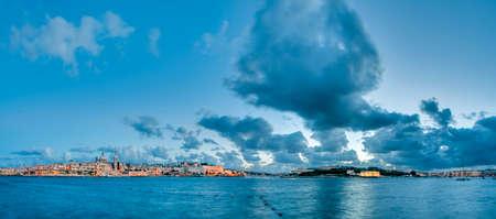 seafront: Valletta seafront skyline view as seen from Sliema shoreline, Malta
