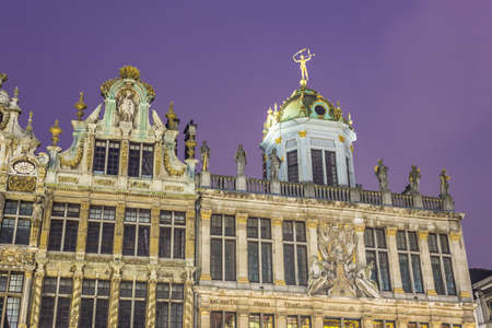 Guildhalls on Grand Place (Grote Markt), the central square of Brussels, its most important tourist destination and the most memorable landmark in Brussels, Belgium.