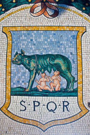 One of the mosaics on the floor of Vittorio Emanuele Gallery, representing Rome (the she-wolf and Romulus and Remus).