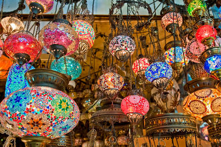 turkiye: Crystal lamps for sale on the Grand Bazaar at Istanbul