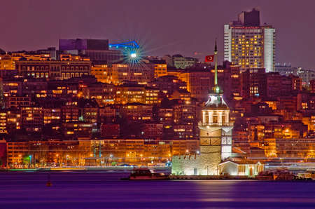 east asia: Night on Maiden or Leanders Tower at Istanbul as seen from Uskudar