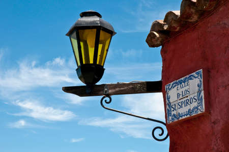 dominant color: The Calle de los Suspiros (Sighs street) hundreds of years ago was the path which took the condemneds to death to die by drowning with the high tides. Stock Photo