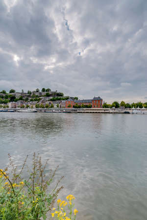 walloon: River Meuse as it passes through the city of Namur in the Wallonia Region, southern Belgium Stock Photo