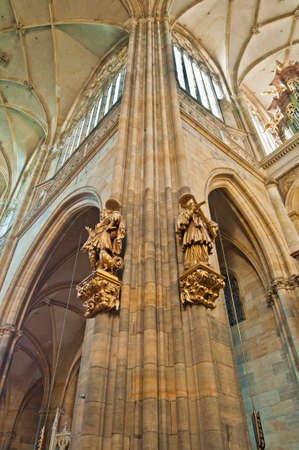 castle interior: Interior of Saint Vitus Cathedral within the Castle of Prague