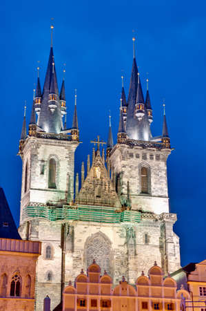 tyn: Our Lady Before Tyn church located at the Old Town Square of Prague