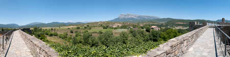 of pano: Pyrenees as seen from Ainsa located at Aragon Province,  Spain