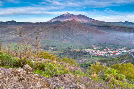 dominant color: Sunset at the Mount Teide, the highest mountain of Spain located at Tenerife Island.